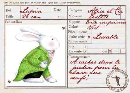 Carte lapin vert