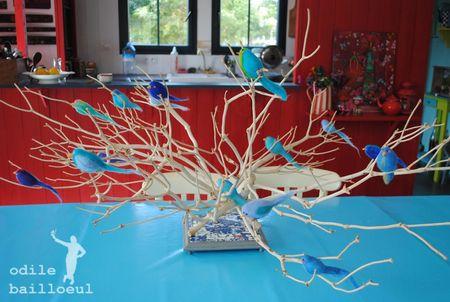 Branche oiseaux bleus